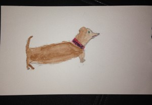 I used water colours to paint a Wiener Dog!